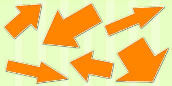 Orange Directional Arrows Cut Outs - orange directional arrows, cut outs, directional arrows, directional arrow cut outs, directional arrows worksheet