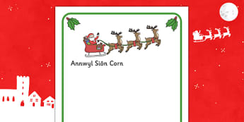 Letter To Santa Writing Frames (Welsh Translation) - letter, santa, welsh, frame