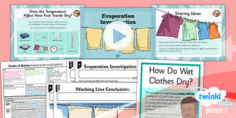 Science: States of Matter: Evaporation Investigation Year 4 Lesson Pack 5