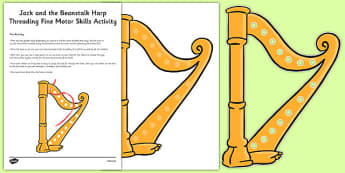 Jack and the Beanstalk Harp Threading Fine Motor Skills Activity - fairy tales, physical development, EYFS