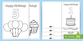 Birthday Age Colouring Cards - Maths, Age, EYFS, Early Years, Number,Number Recognition, Counting, Matching number and quantity