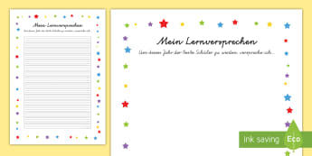 Mein Lernversprechen Arbeitsblatt - Schulanfang, neues Schuljahr, lernen, versprechen, erziehlen, einhalten,German