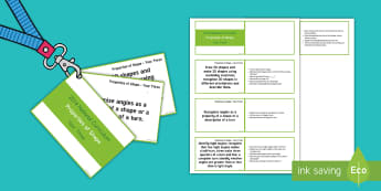 Year 3 Lanyard Sized Properties of Shape Objectives Cards - Year 3, year three, y3, National Curriculum objectives, properties of shape, 3D shapes, 2D shapes, r - Year 3, year three, y3, National Curriculum objectives, properties of shape, 3D shapes,