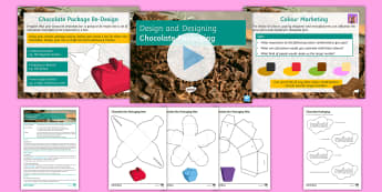 Chocolate Packaging Lesson Pack - designing, nets, packaging, ks3, rendering, target market, colour marketing, design