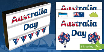 Australia Day Light Box Inserts  - EYLF, Themes Topics and events, festivals and celebrations, F - 2, 3-4, 5-6, signs and labels, class