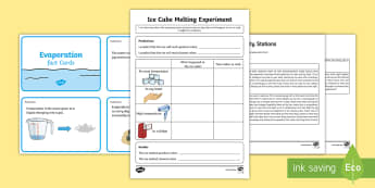 Water First Level Science Activity Station Lesson Pack - CfE, Science, water, water experiments, ice experiment, melting experiment, evaporation, melt, ice,