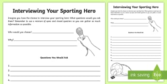 Interviewing Your Sporting  Hero Writing Template  - interview, sport, hero, questionnaire, questions,Irish