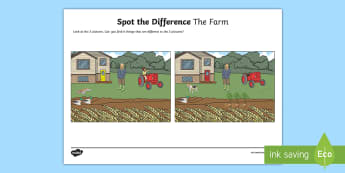 The Farm Spot the Difference Activity Sheet - english, language, oral language, farm, talking, spot the difference, pair work, SLT, farmer,Irish