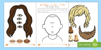 Parts of the Body - The Face Activity Sheet - Te Reo Maori/English -  Kanohi, Mata, Body, labelling body parts, recognising body parts, worksheet