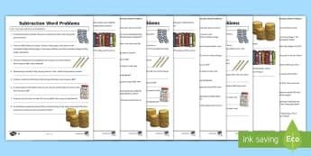 Year 3 Subtraction Word Problems Differentiated Activity Sheets - Solve problems, including missing number problems, using number facts, place value, and more complex