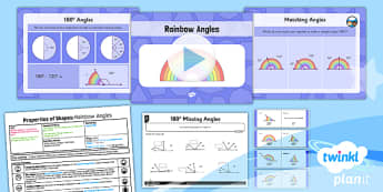 PlanIt Y5 Properties of Shapes Lesson Pack 180 degree Angles - Properties of Shapes, angles, acute, obtuse, reflex, measure angles, draw angles, degrees, protractor, angle measurer, 180 degrees, missing angle, calculate angles, straight line angle