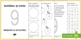 Numărul și cifra 9 Broșură cu activități - numere, cifre, numărul 9, broșură, clasa pregătitoare, numerație, matematică,Romanian