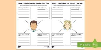 I Liked My Teacher Activity Sheet - ROI, Teacher, activity, Sheet, End of Year, Summer,Irish