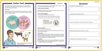 Kosher Food Differentiated Comprehension Go Respond Activity Sheets - kosher, food, drink, Jewish, Judaism, Jew, rules, Torah, holy, Kashrut laws, trefah, animals, shoche