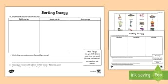 Energy Types Sorting Activity Sheets - ACSSU049, ACSSU020, chemical science Australia,Australia, worksheets