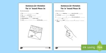 Northern Ireland Linguistic Phonics Stage 5 and 6, Phase 3a and 3b, 'er' Dictation Sentences Activity - Linguistic Phonics, Stage 5, Stage 6, Phase 3a, Phase 3b, Northern Ireland, sentences, dictation, wo