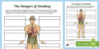 The Dangers of Smoking Labelling Activity Sheet - dangers of smoking, labelling, KS2, body, science, PSHE, harmful substances, nicotine, organs, effec