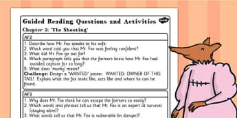 Guided Reading Questions Chapter 3 to Support Teaching on Fantastic Mr Fox - mr fox