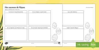 Easter Storyboard Template French - KS3, French, Easter, storyboard, reading, lecture, illustration, illustrate, Pâques. ,French