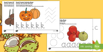 Autumn and Harvest Themed Pencil Control Sheets A to Z Italian/English - autumn, harvest, pencil control, autmn, EAL