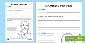Sir Arthur Conan Doyle Fact File Activity Sheet - CfE Scottish Significant Individuals, Sir Arthur Conan Doyle, famous Scots, authors, Scottish author