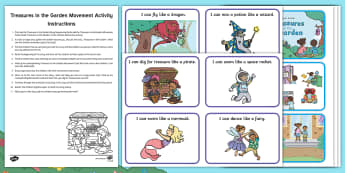 Treasures in the Garden Movement Activity Resource Pack - Treasures in the Garden, fiction, story, movement, dance, EYFS, PD, Physical Development, gross moto