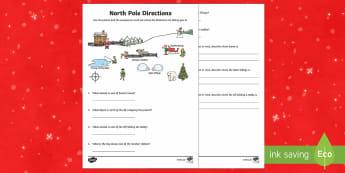 KS1 North Pole Direction Activity Sheet - Christmas, Nativity, Jesus, xmas, Xmas, Father Christmas, Santa, compass, directions, north, south,