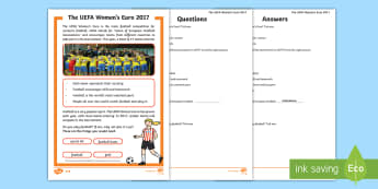 KS1 UEFA Women's Euro 2017 Differentiated Reading Comprehension Activity - Women's football, reading comprehension, sport, tournament, europe