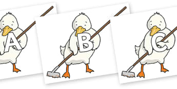 A-Z Alphabet on Farmer Duck With Hoe - A-Z, A4, display, Alphabet frieze, Display letters, Letter posters, A-Z letters, Alphabet flashcards