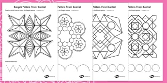 Rangoli Pattern Pencil Control Worksheets - rangoli, diwali