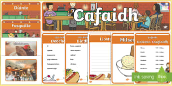 Cafe Role Play Pack Gaelic - CfE, Gaelic, Role, Play, cafe, food , Scottish