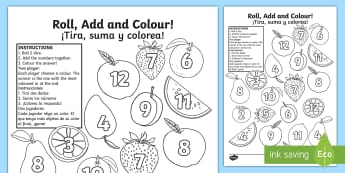 Fruit Roll and Colour Activity Sheet English/Spanish - Dice, Addition, +, add, adding, EAL, translation