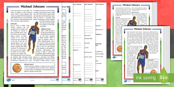 KS2 Black History Month Michael Johnson Differentiated Reading Comprehension Activity - Sport, Records, Athletics, Achievement, African-American