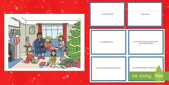 Dimineața de Crăciun - Planșă cu set de întrebări - română, materiale, comunicare, dezvoltarea vorbirii, citire după imagini, Crăciun, iarnă, Roman