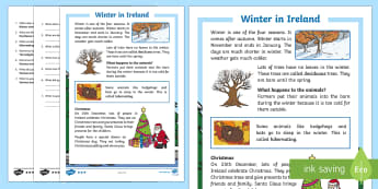 Winter in Ireland 1st and 2nd Class Differentiated Reading Comprehension Activity - Differentiated Winter in Ireland Comprehensions ROI,Irish