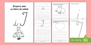 """Scrierea literelor """"i"""" și """"I"""" de mână Broșură cu activități - alfabetul, scriere, litere, de mână, grafisme,Romanian"""