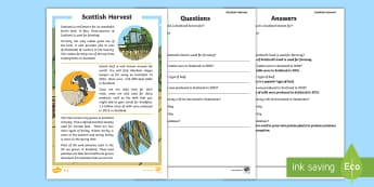 Harvest Differentiated Reading Comprehension Activity - autumn, farming, agriculture, land use, reading for information,Scottish