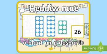 Poster Arddangos A2 Heddiw mae - o blant yn y dosbarth gyda Sgwariau Rhif  - presenoldeb, cofrestr, hunan gofrestri, numicon, attendance,Welsh-translation