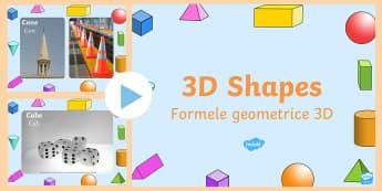 3D Shape Photo PowerPoint English/Romanian - shape recognition, , presentation, slide show, slides, discussion aid, EAL