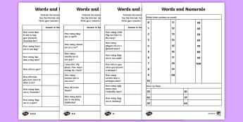 Words and Numerals Homework Go Respond Activity Sheets - year 2, maths, place value, words and figures, homework, number words, number recognition