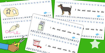 Combined Number and Alphabet Strips to Support Teaching on Biscuit Bear - Biscuit, Bear, Alphabet, Strips