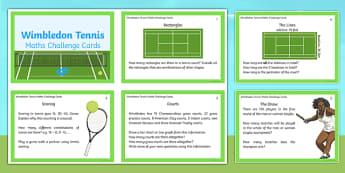LKS2 Wimbledon Maths Challenge Cards