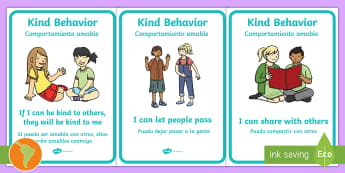 Kind Behaviour Posters US English/Spanish (Latin) - Kind Behaviour Posters - Good manners, good behaviour, class management, display, banner, poster, si