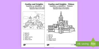 Castles and Knights Colour by Number English/Spanish - Castles And Knights Colour by Numbers - colouring, counting , numbes, colering, nigt, countng, couti