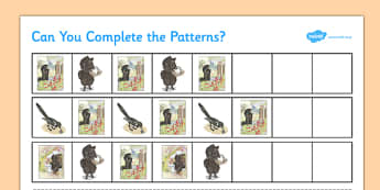 Beatrix Potter - The Tale of the Pie and the Patty-Pan Complete the Pattern Activity - beatrix potter, pie, patty pan, complete the pattern