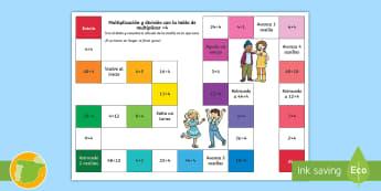 Juego de mesa: Multiplicación y división - x4 - multiplicar, dividir, mates, matemáticas, multiplciación, división, tablas de multiplicar, tabla