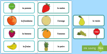 Different Fruit Card Game French - French Games, french card games, french food, french fruit, self-correcting games.