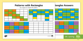 Patterns with Rectangles Complete the Pattern Activity Sheet - NI KS1 Numeracy, abstract, square, rectangle, pattern, fine motor control, complete.