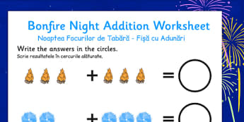 Bonfire Night Fireworks Addition Sheet Romanian Translation - romanian