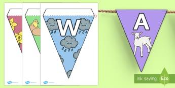 Spring Display Lettering Bunting - welsh, cymraeg, spring, display, bunting